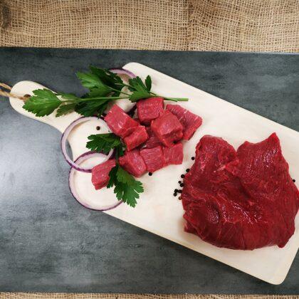 Nogatavināta liellopa gaļa lēnai gatavošanai(gulašam) 0,5 un 1 kg iepak.